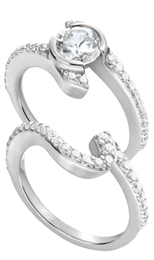 ... Gold Engraved Diamond Twisty Ring with Matching Engraved Diamond Band