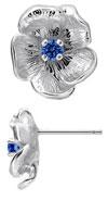 TruSilver Single Flower Birthstone Earrings with Sapphire
