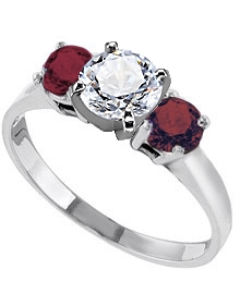 Diamond And Ruby Enement Ring | Palladium 2 Mm Engagement Ring With Red Ruby Side Stones