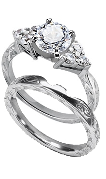 68d87aa8a00 Palladium Engraved Woman s Matched Set (.33 ct. tw.)
