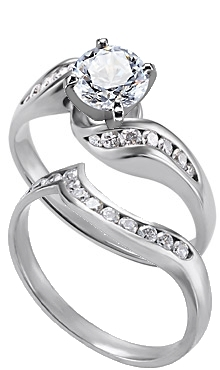 14k White Gold Diamond Twisty Ring With Matching Band Available Carat Total Weights Of 50ct Or 75ct