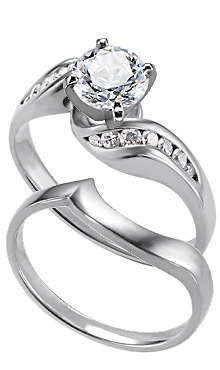 14K White Gold Diamond Twisty Ring With Matching Plain Band Available With  Carat Total Weights Of .25ct Or .50ct.